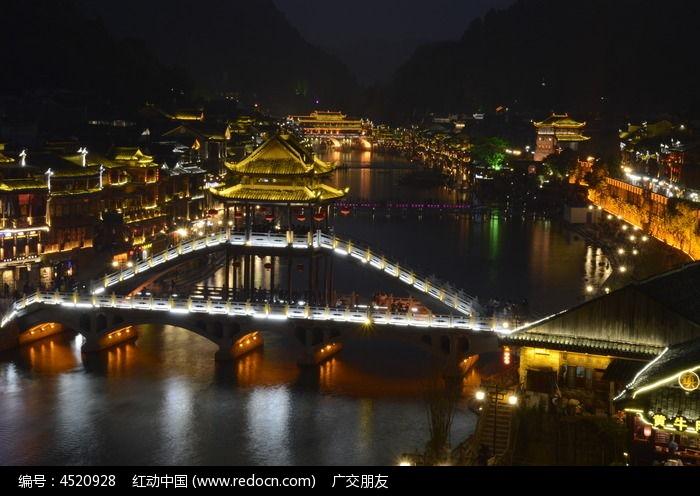 湖南 凤凰古城景区景点夜景图片图片