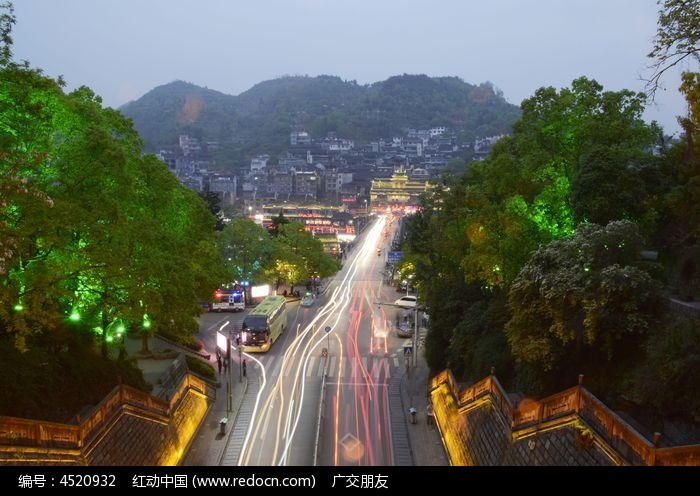 湖南 凤凰古城夜景图片图片