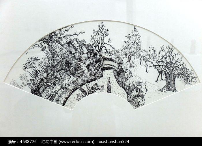扇面画园林风景黑白稿 白描 钢笔画高清图片下载 编号4538726 红动网