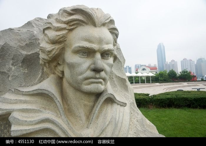 青岛五四广场贝多芬头像石雕图片,高清大图_城市风光
