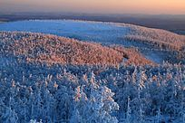 大兴安岭冬季森林夕照