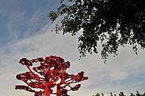 纪念抗击非典不锈钢雕塑树
