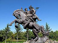 铜雕《靺鞨民族抢婚》