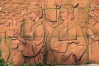 两个女性人物砖雕