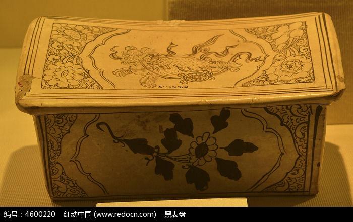 白釉黑彩狮球瓷枕
