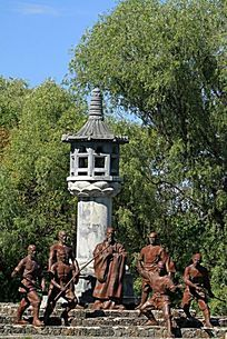 靺鞨民族文化园组雕《护法》