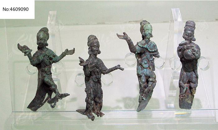 四人乐舞铜俑图片,高清大图_文物古董素材