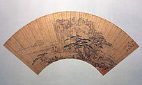 张宏《松岩幽寺图》