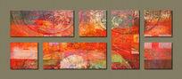 客厅抽象三联画