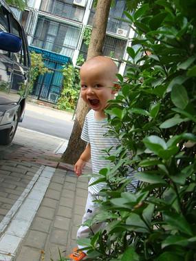 藏在灌木丛的孩子