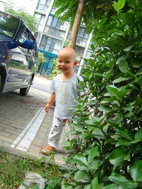 从灌木丛跑出来的孩子