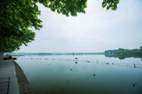 杭州西湖北山路安静湖面