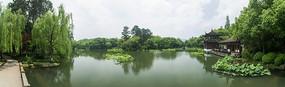 杭州西湖荷塘荷叶中国古典建筑园林景观全景图