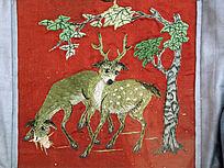 梅花鹿满族刺绣
