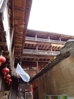 世界文化遗产永定的方型土楼一角