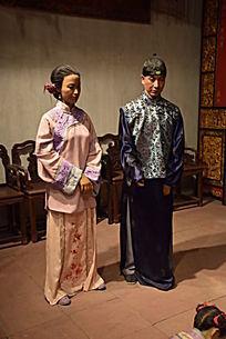 清代夫妻人物模型