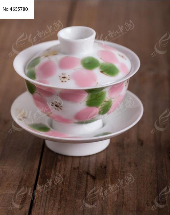 手绘樱花盖碗图片