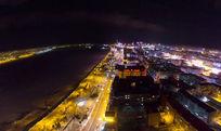 中俄双子城黑河俄罗斯夜景冬季全景图