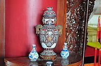 世界文化遗产圆明新园园内提花双耳花瓶