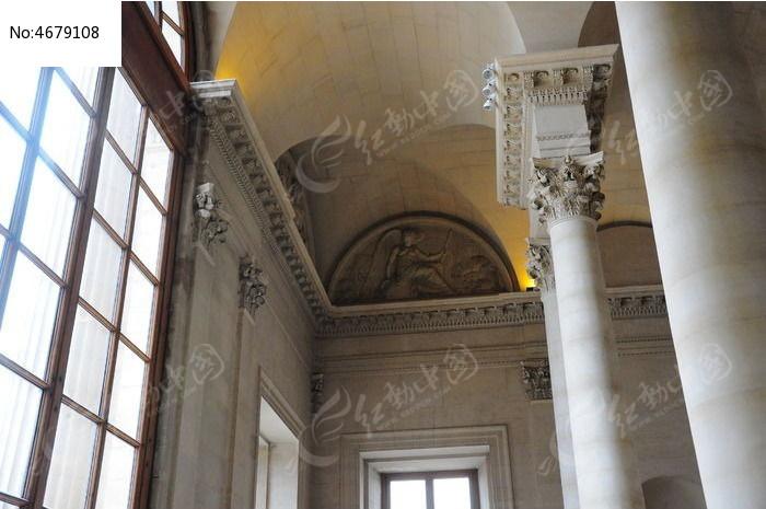 巴黎卢浮宫内欧式建筑特写图片图片