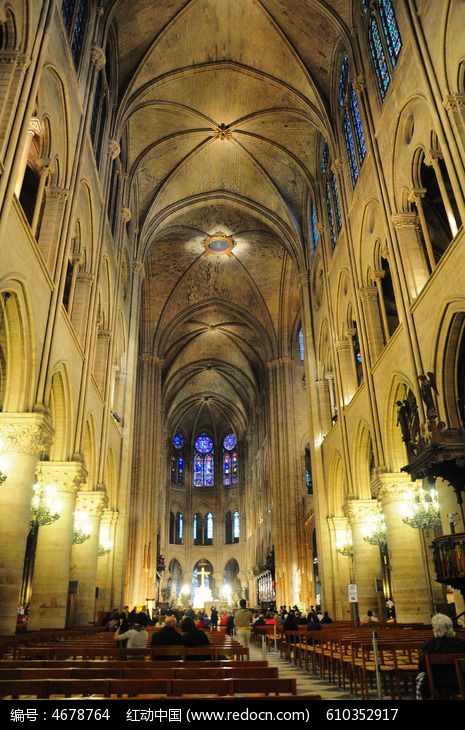 巴黎圣母院内欧式建筑剪影图片