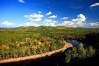 大兴安岭河流茂密的秋林