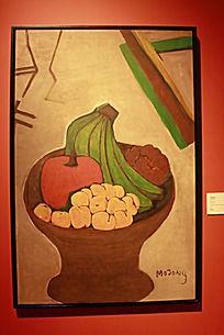 盘子里的水果 水彩画