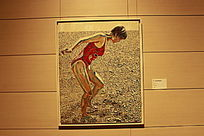 沙滩上的女人油画