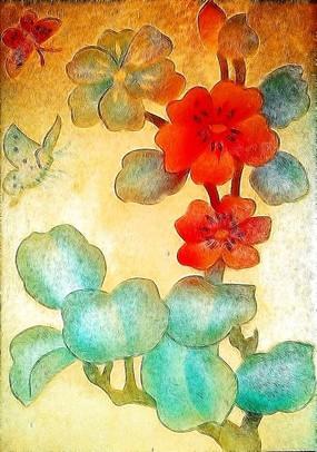 窗户玻璃花卉画