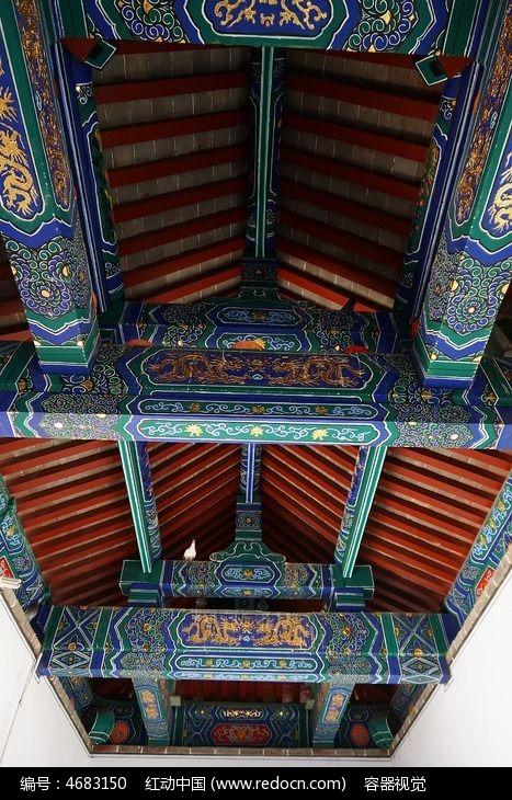 富丽堂皇的 古建筑彩绘 房梁顶棚 图片 ,高清大图图片