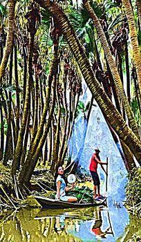 人物风景树林油画