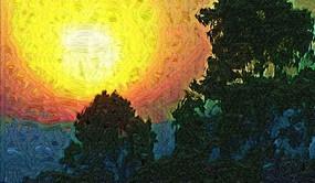 日落风景油画