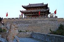 中华第一关城楼石狮
