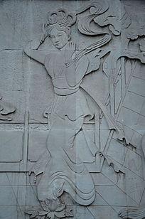 古代少妇特写浮雕