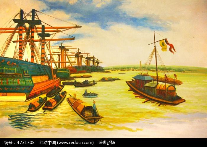 海边码头油画图片