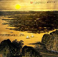 山水日出风景画