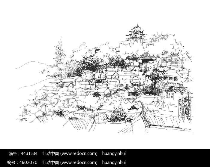 钢笔景观手绘图片,高清大图