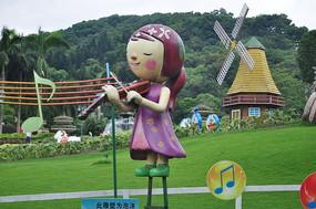 拉小提琴的小女孩雕塑