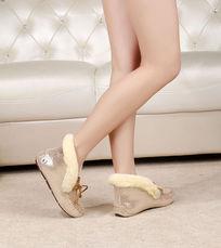 漂亮 金色豆豆鞋侧鞋