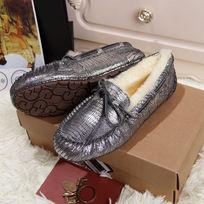 黑白银色蜥蜴纹毛茸茸豆豆鞋侧面