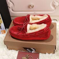 红色蜥蜴纹豆豆鞋毛茸茸暖和鞋子