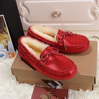 红色蜥蜴纹豆豆鞋毛茸茸鞋子