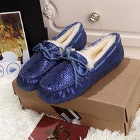 蓝色蜥蜴纹豆豆鞋毛茸茸暖和