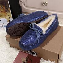 蓝色蜥蜴纹豆豆鞋毛茸茸暖和侧面