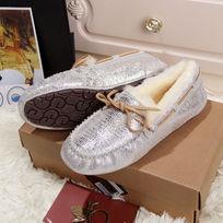 蜥蜴纹白银色豆豆鞋侧面