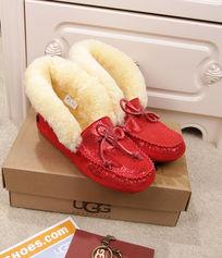 大红色蜥蜴纹长毛暖和冬天穿豆豆鞋摄影漂亮