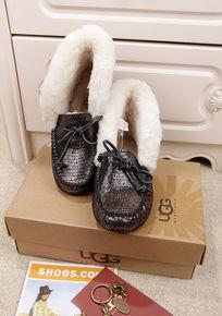 黑银蜥蜴纹豆豆鞋