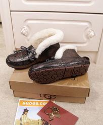 黑银蜥蜴纹豆豆鞋毛茸茸暖和