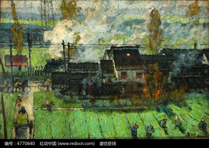 乡村风景油画图片,高清大图_插画绘画素材