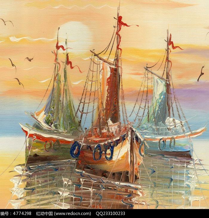 帆船油画装饰画图片,高清大图_插画绘画素材